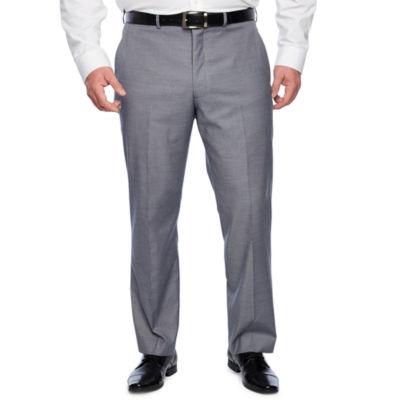 JF J.Ferrar Blue Stretch Sheenskin Classic Fit Suit Pants - Big and Tall