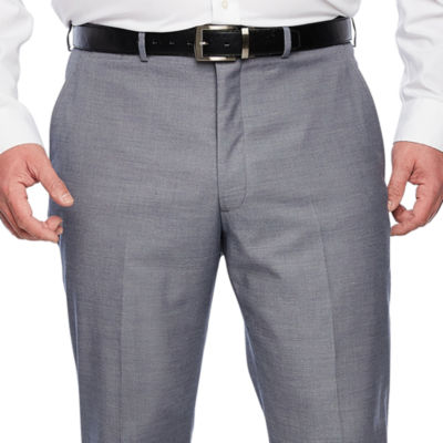 JF J.Ferrar - Big and Tall Blue Stretch Sheenskin Suit Pant Classic Fit Stretch Suit Pants