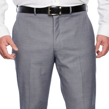 JF J.Ferrar Blue Stretch Sheenskin Suit Pant Stretch Classic Fit Suit Pants - Big and Tall
