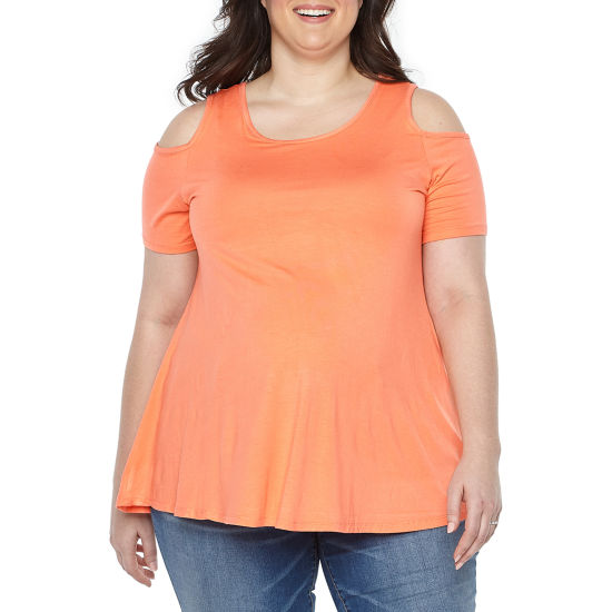 Planet Motherhood Scoop Neck Cold Shoulder Tee - Plus Maternity