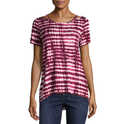 Eyeshadow Short Sleeve Split Crew Neck Tie Dye T-Shirt-Womens Juniors