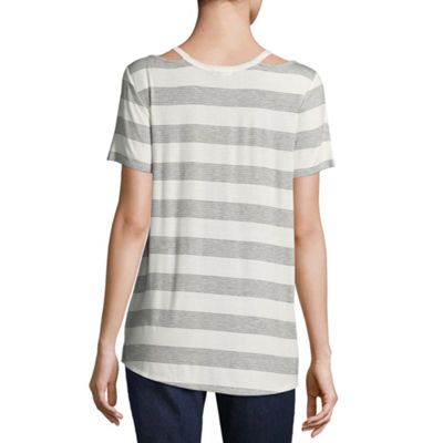 Eyeshadow Short Sleeve Split Crew Neck Stripe T-Shirt-Womens Juniors