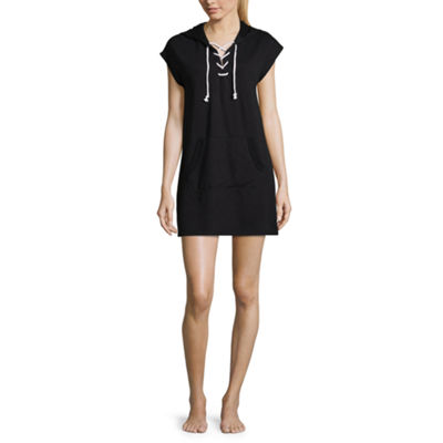 Flirtitude Lace Up Hooded Short Sleeve Dress - Juniors