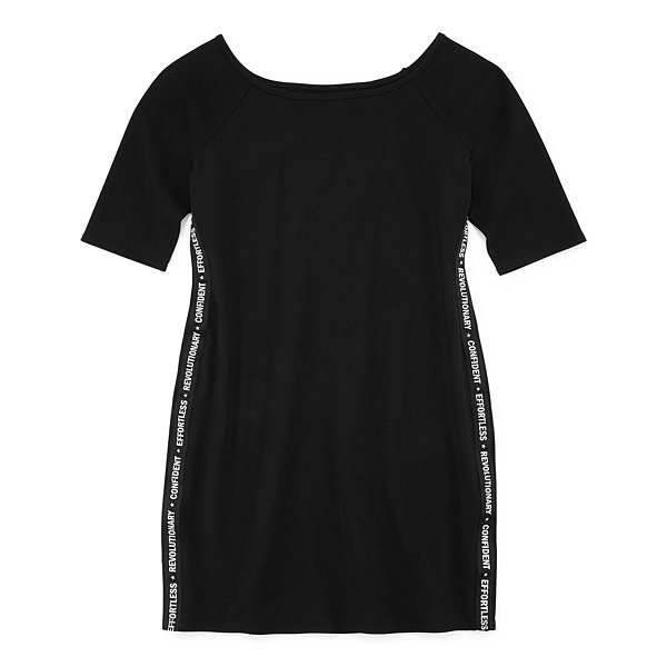 City Streets Short Sleeve Outside Taping Bodycon Dress-Juniors