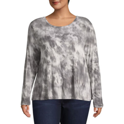 Arizona Long Sleeve Round Neck Knit Blouse-Juniors Plus