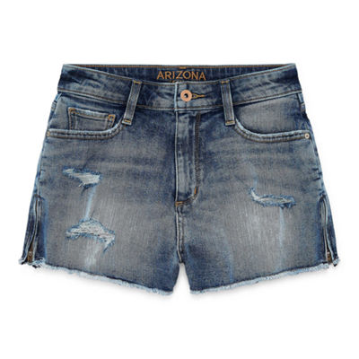 Arizona 2 1/2 inch High Rise Side Zip Denim Shorts-Juniors