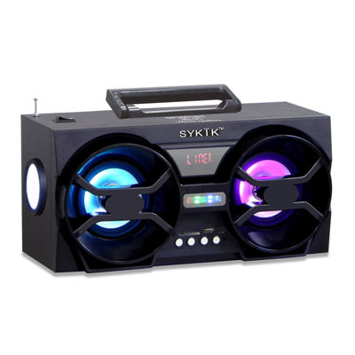 Sykik Bluetooth Boom Box with SD/MMC/USB, FM Radio, Built-in Rechargeable Battery & Remote Control
