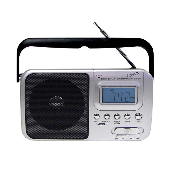 Supersonic SC-1091 Handheld Digital AM/FM Radio with Display, SW1, SW2 and AC/DC Operated