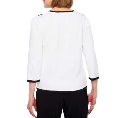 Alfred Dunner Upper East Side 3/4 Sleeve Crew Neck Pullover Sweater-Petites