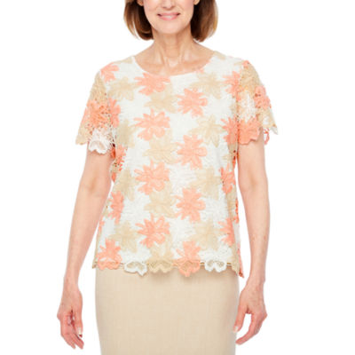 Alfred Dunner La Dolce Vita Short Sleeve Crew Neck Floral T-Shirt-Petites