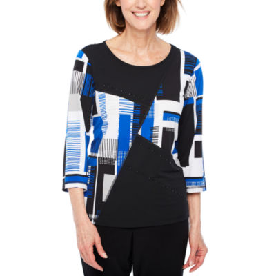 Alfred Dunner Upper East Side 3/4 Sleeve Crew Neck Geometric T-Shirt-Womens Petites