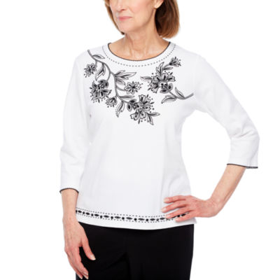 Alfred Dunner Upper East Side 3/4 Sleeve Crew Neck Floral T-Shirt-Womens Petites