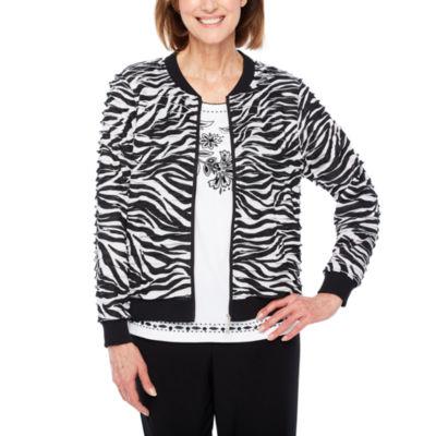 Alfred Dunner Upper East Side Lightweight Zebra Softshell Jacket-Petite