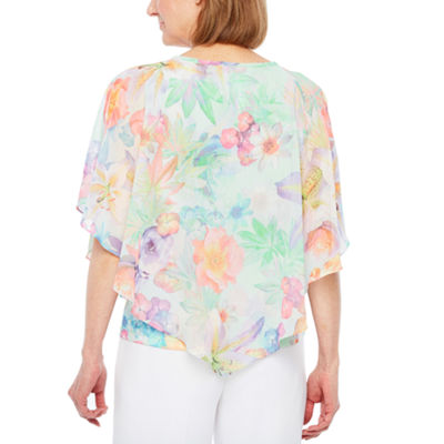 Alfred Dunner Roman Holiday Short Sleeve Crew Neck Knit Floral Blouse-Petites