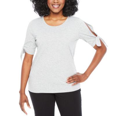 St. John's Bay Active Short Sleeve Crew Neck Stripe T-Shirt-Womens Petite