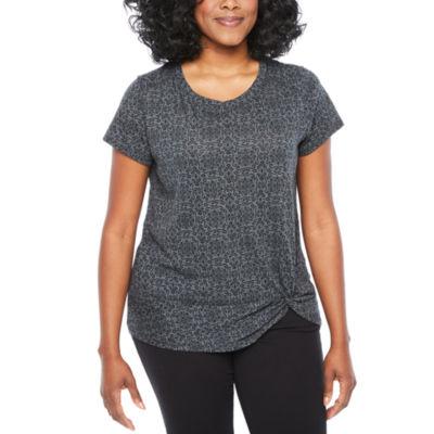 St. John's Bay Active Short Sleeve Crew Neck T-Shirt-Womens Petites