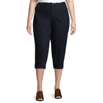 St. John's Bay® Straight Leg Secretly Slender Twill Crop - Plus