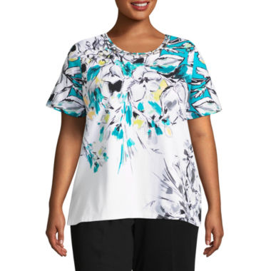 Alfred Dunner Play Date Floral Yoke Tee- Plus