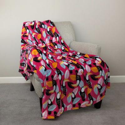 "Toucan Print (50""X70"") Velvet Plush Throw"