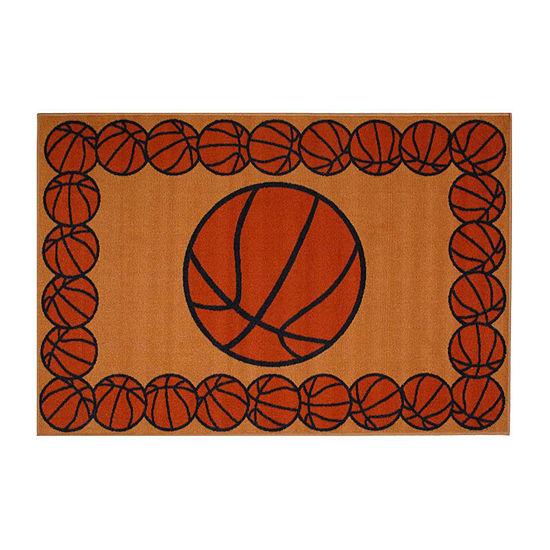 Basketball Time Rectangular Indoor Rugs