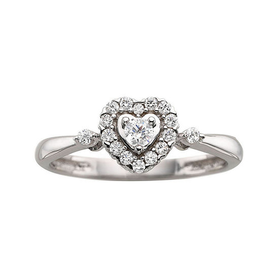¼ CT. T.W. Diamond Sterling Silver Heart Promise Ring