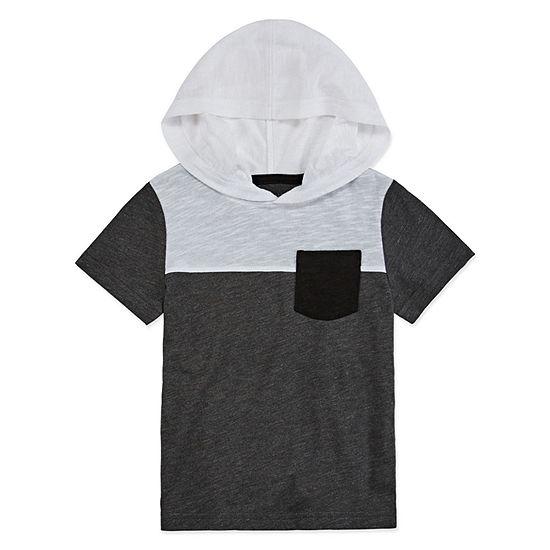 Okie Dokie Boys Hooded Neck Short Sleeve Hooded T-Shirt-Toddler