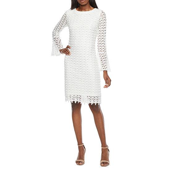 Ronni Nicole Long Sleeve Chevron Lace Sheath Dress