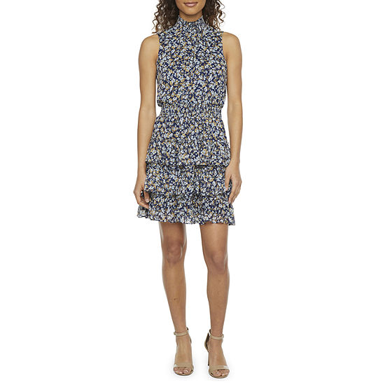 MSK Sleeveless Floral Tiered Fit & Flare Dress