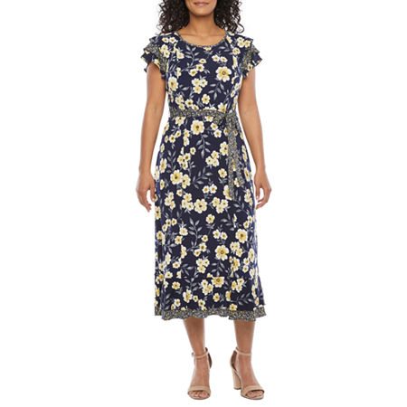 1930s Day Dresses, Afternoon Dresses History Perceptions-Petite Short Sleeve Floral Midi Fit  Flare Dress Petite Small  Blue $45.00 AT vintagedancer.com