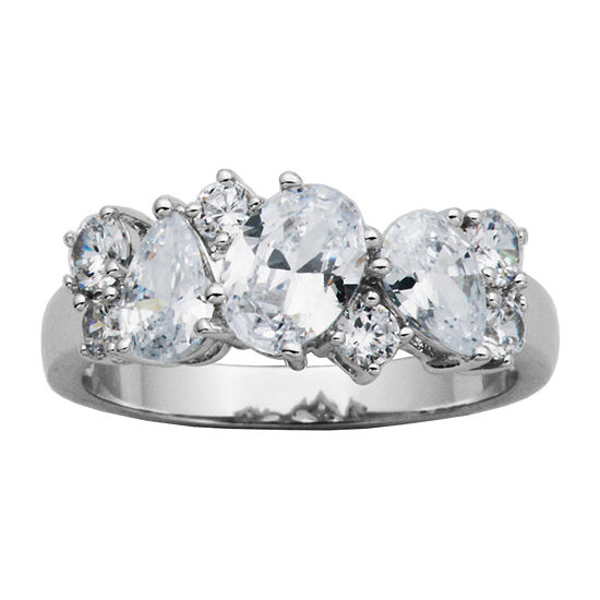 Diamonart Womens 2 1/5 CT. T.W. Lab Created Cubic Zirconia Sterling Silver Oval Cluster Cocktail Ring