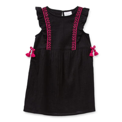 Okie Dokie Toddler Girls Short Sleeve Flutter Sleeve A-Line Dress