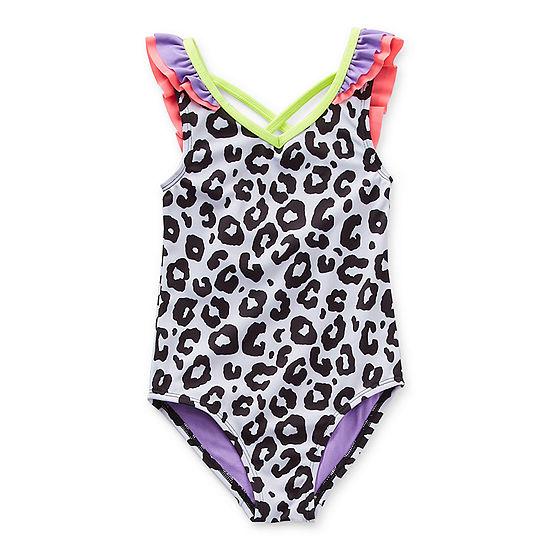 Okie Dokie Toddler Girls Leopard One Piece Swimsuit