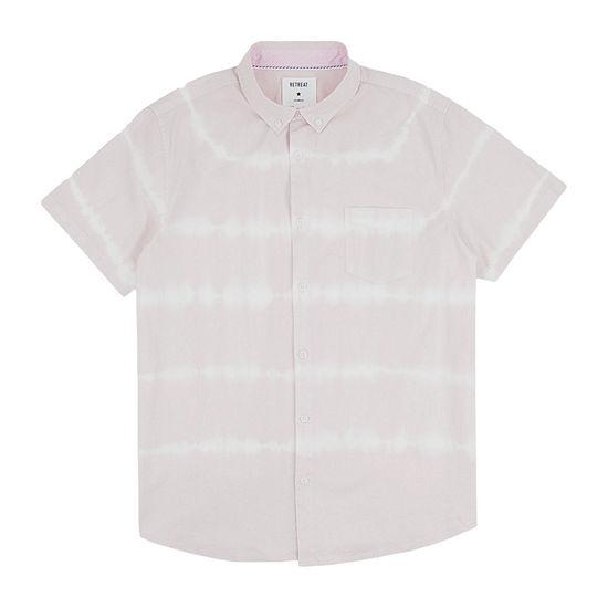 Retreat Los Angeles Mens Short Sleeve Tie Dye Button-Down Shirt