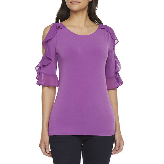 Bold Elements Womens Round Neck Short Sleeve Knit Blouse