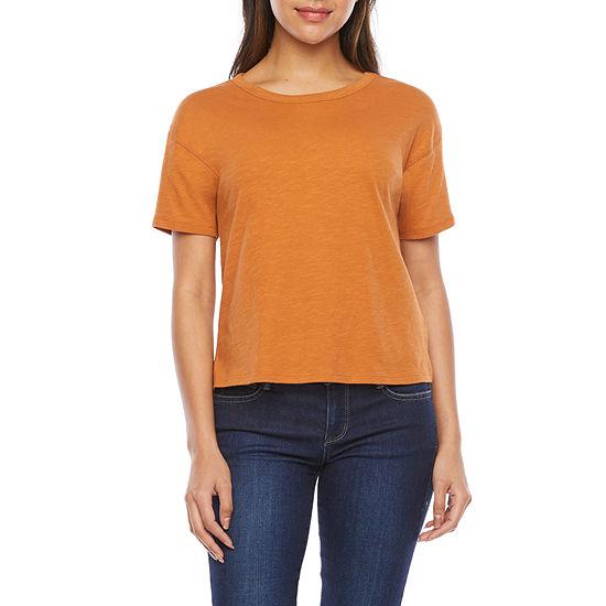 a.n.a Womens Round Neck Short Sleeve Crop T-Shirt