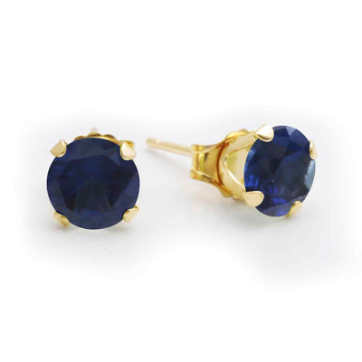 6mm Lab-Created Sapphire 10K Yellow Gold Stud Earrings