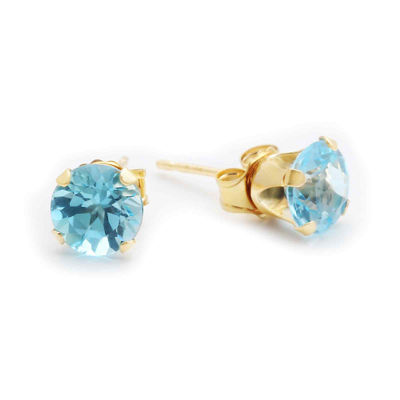 Genuine Blue Topaz 10K Yellow Gold 6mm Stud Earrings