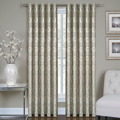 Vegas Metallic Rod-Pocket Jacquard Curtain Panel
