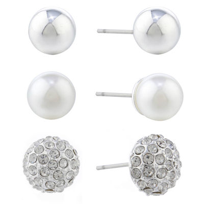 Gloria Vanderbilt Gray 10.1mm Stud Earrings
