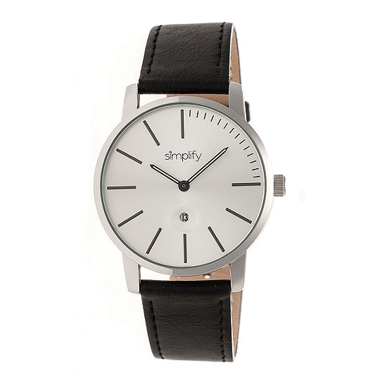 Simplify The 4700 Unisex Adult Black Leather Strap Watch-Sim4701