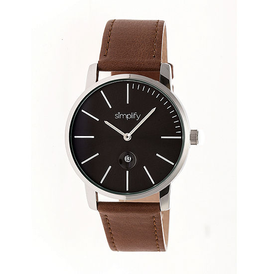 Simplify The 4700 Unisex Adult Brown Leather Strap Watch-Sim4703