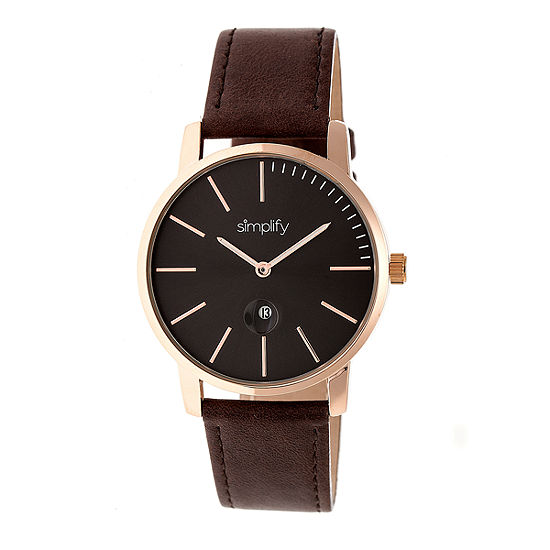Simplify The 4700 Unisex Adult Brown Leather Strap Watch-Sim4705