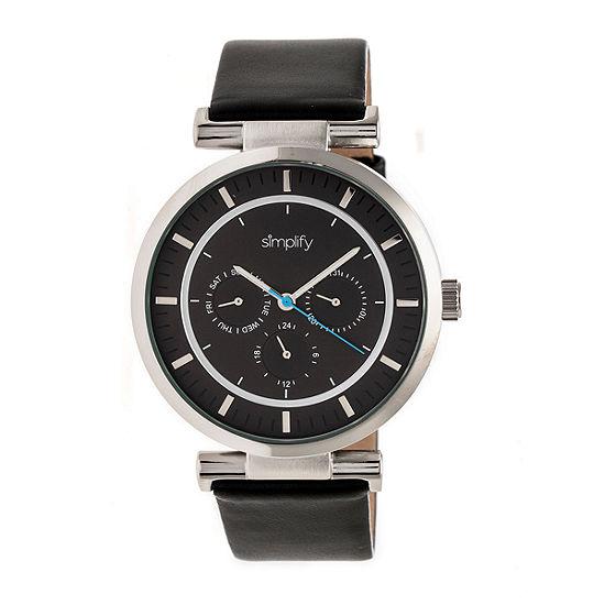 Simplify The 4800 Unisex Adult Black Leather Strap Watch-Sim4804