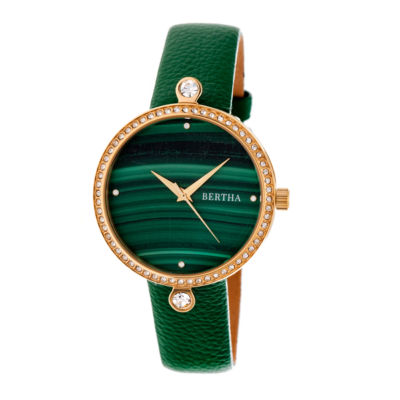 Bertha Frances Womens Green Strap Watch-Bthbr6403