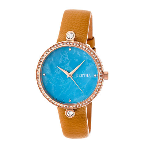 Bertha Frances Womens Brown Strap Watch-Bthbr6405