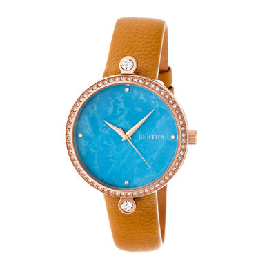 Bertha Frances Womens Brown Strap Watch-Bthbr6405