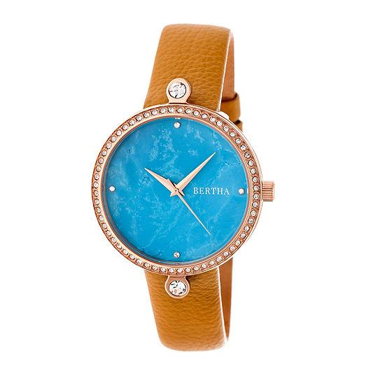 Bertha Frances Womens Brown Leather Strap Watch-Bthbr6405