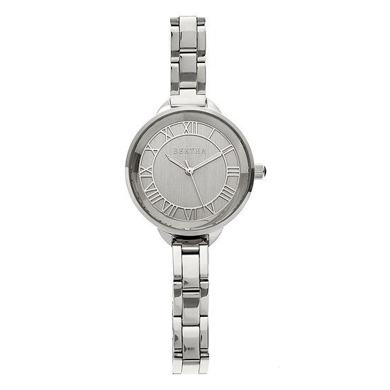 Bertha Madison Womens Silver Tone Bracelet Watch-Bthbr6701