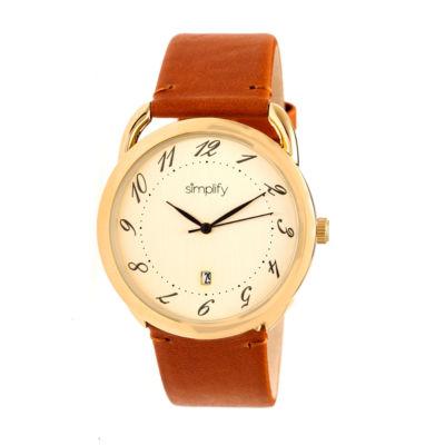 Simplify The 4900 Unisex Brown Strap Watch-Sim4903
