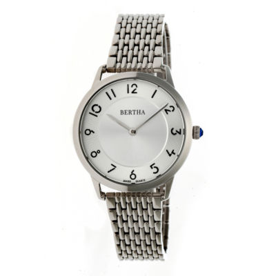 Bertha Abby Womens Silver Tone Bracelet Watch-Bthbr6801